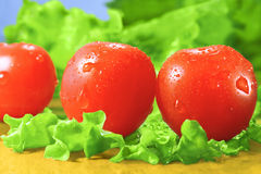 Cherry tomatoes and lettuce. On a cutting board stock photo
