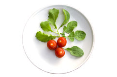 Cherry tomatoes. And lettuce on a plate Stock Images