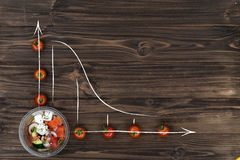 Cherry tomatoes lying in form of chart on the table Royalty Free Stock Photo