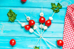 Cherry tomatoes with mozzarella on a stick royalty free stock image