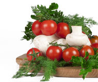 Cherry tomatoes, mushrooms, parsley and dill Royalty Free Stock Images