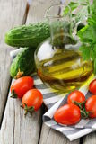 Cherry tomatoes, olive oil and parsley Royalty Free Stock Images