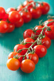 Cherry tomatoes over turquoise background Royalty Free Stock Image