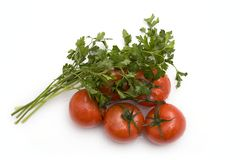 Cherry tomatoes and parsley Royalty Free Stock Photos