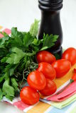 Cherry tomatoes and parsley and black pepper Royalty Free Stock Photography