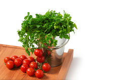 Cherry Tomatoes with Parsley Stock Photography