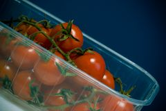 Cherry Tomatoes in Plastic Container Royalty Free Stock Image