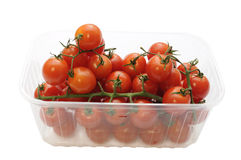 Cherry tomatoes in a plastic container Royalty Free Stock Image