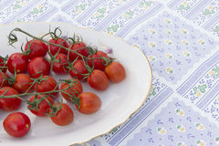 Cherry tomatoes plate tablecloth Stock Image