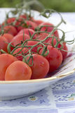 Cherry tomatoes plate tablecloth Stock Photo