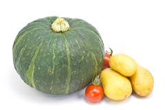 Cherry tomatoes and potatoes and pumpkin Royalty Free Stock Image