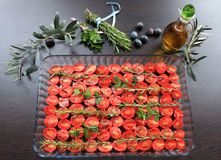 Cherry tomatoes prepared with jerk spices and olive oil Royalty Free Stock Photo