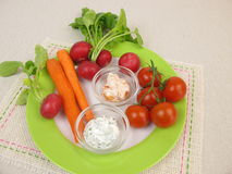 Cherry tomatoes, red radishes, carrots and fresh cheese dipping sauce Royalty Free Stock Photos