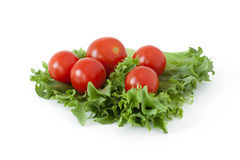 Cherry tomatoes on a salad leaf on white background. Several cherry tomatoes on fresh lettuce leaves on a white background Stock Image