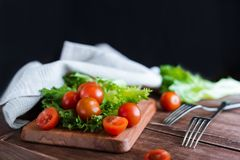 Cherry tomatoes and salad leaves on the cutting board with soft focus on the background. Top view. Copy text space. Cherry tomatoes and salad leaves on the Stock Image