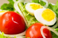 Cherry tomatoes in a salad with lettuce, olive oil, onions and e Stock Images
