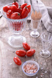 Cherry tomatoes with sea salt Stock Photography