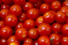 Cherry tomatoes. Shiny cherry tomato fruit on an open air market fruit and vegetable stall Royalty Free Stock Photo