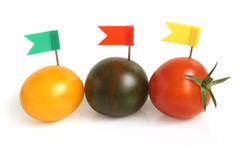 Cherry tomatoes with small flags Stock Image