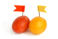 Cherry tomatoes with small flags Stock Photography