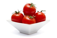 Cherry tomatoes in square bowl Royalty Free Stock Photo