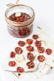 Cherry tomatoes, sun-dried, with herbs and spices Royalty Free Stock Photos