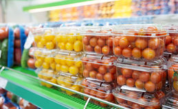 Cherry tomatoes in supermarket Stock Photography