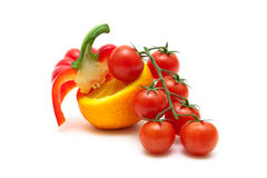 Cherry tomatoes, sweet pepper and orange. Stock Images