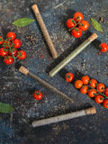 Cherry tomatoes and various spices Stock Image