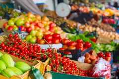 Cherry tomatoes vegetable stall market Stock Photo