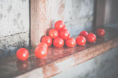 Cherry tomatoes, vintage photos, scattered tomatoes Stock Photos