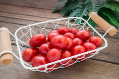 Cherry tomatoes in white basket Stock Photography