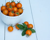 Cherry tomatoes in a white bowl Royalty Free Stock Images
