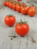 Cherry tomatoes on the wooden background stock photos