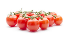 Cherry tomatos. Group of cherry tomatos isolated on white background Stock Photos