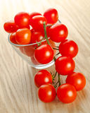 Cherry tomatos in a glass bowl Stock Photography