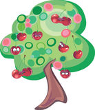 Cherry tree. Vector illustration of lovely cherries on retro tree Royalty Free Stock Photos