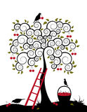 Cherry tree and basket of cherries. Illustrated cherry tree, ladder, birds and basket of cherries on white background Royalty Free Stock Photos