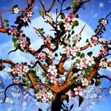 Cherry Tree Blossom Background Illustration. Cherry Tree Blossom Illustration High Resolution vector illustration