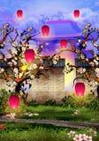 Cherry Tree Blossom, brick wall and pink lanterns. Illustration stock illustration