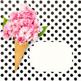 Cherry tree blossom ice cream waffle cone paper tag Stock Photo