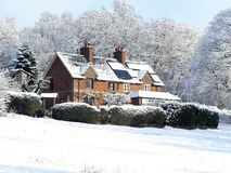 Cherry Tree Dell, terrain communal de Chorleywood, Chorleywood dans la neige d'hiver images stock