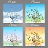 Cherry tree in a different seasons royalty free illustration
