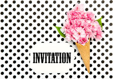 Cherry tree flowers ice cream waffle cone Paper Tag Stock Photography