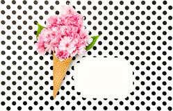 Cherry tree flowers ice cream waffle cone paper tag Royalty Free Stock Image