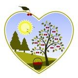 Cherry tree in heart Royalty Free Stock Photos