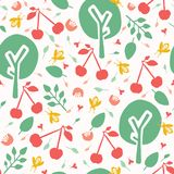 Cherry tree orchard seamless vector pattern background. Hand drawn tossed red cherries paper cut out. Matisse style. Fruit garden vector illustration