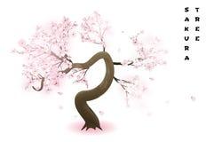 Cherry tree. Realistic pink blossoming spring japanese sakura. Vector illustration vector illustration
