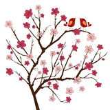 Cherry tree with whimsical birds Stock Photo