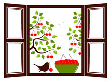 Cherry trees outside window. Bowl of cherries and bird in the window and cherry trees outside the window Royalty Free Stock Photo